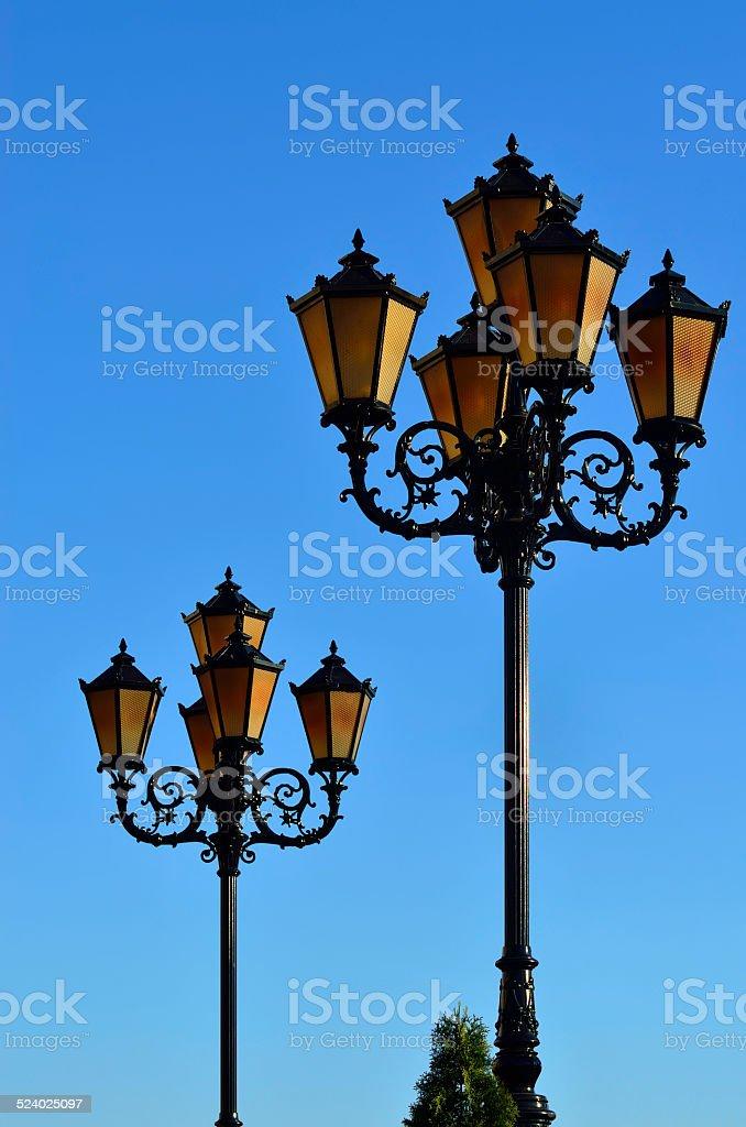 Lights of the Fishing village. Kaliningrad, Russia stock photo