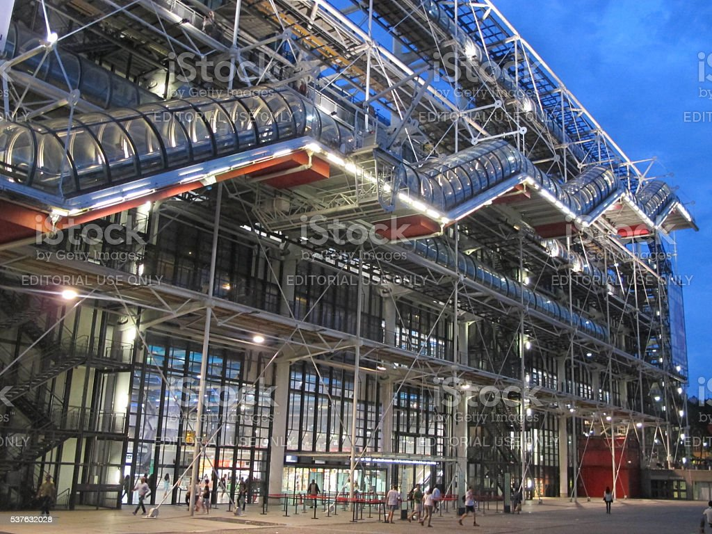 Lights on at the Centre Pompidou stock photo