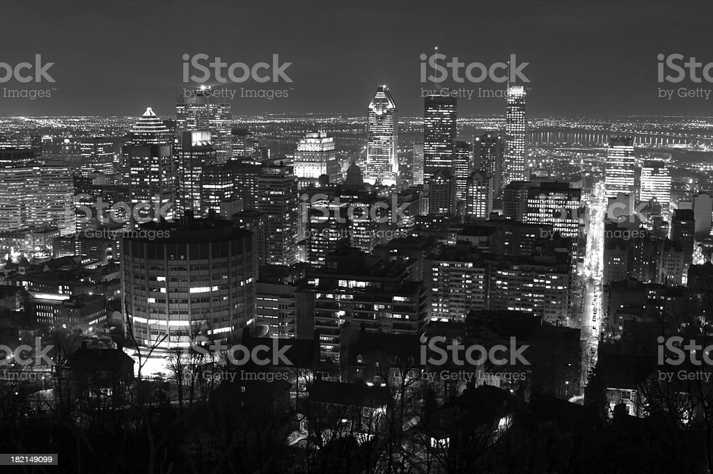 Lights on Montreal City at Night royalty-free stock photo