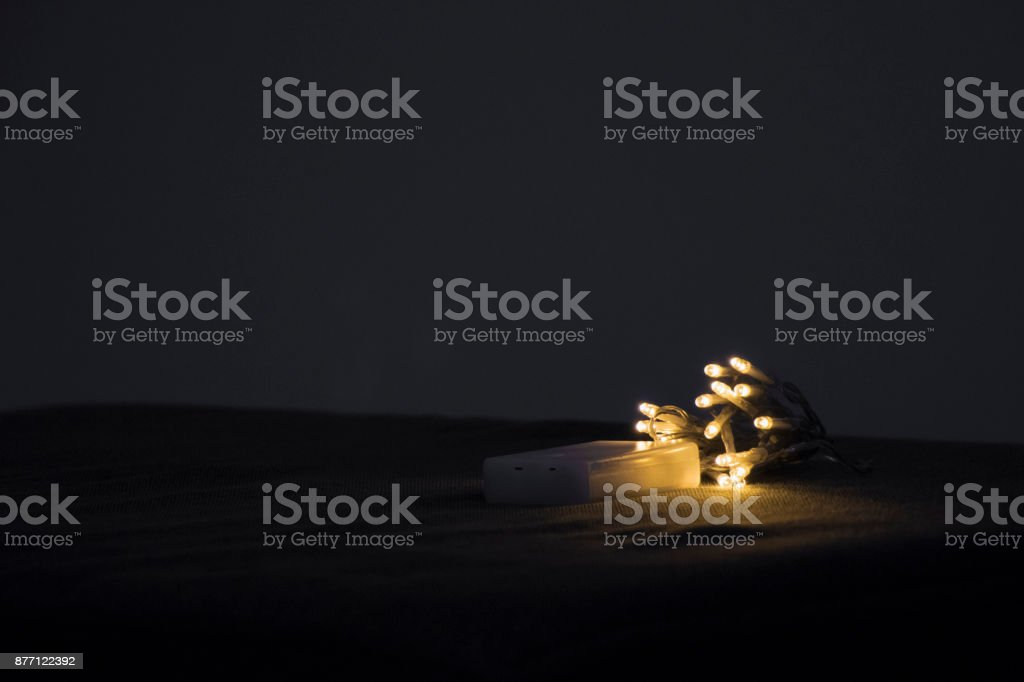 LED lights on the couch stock photo
