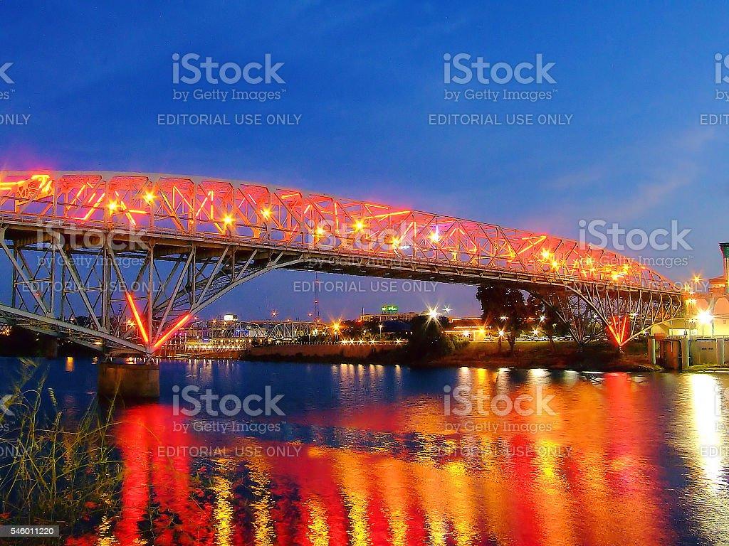 Lights on the Texas Street Bridge stock photo