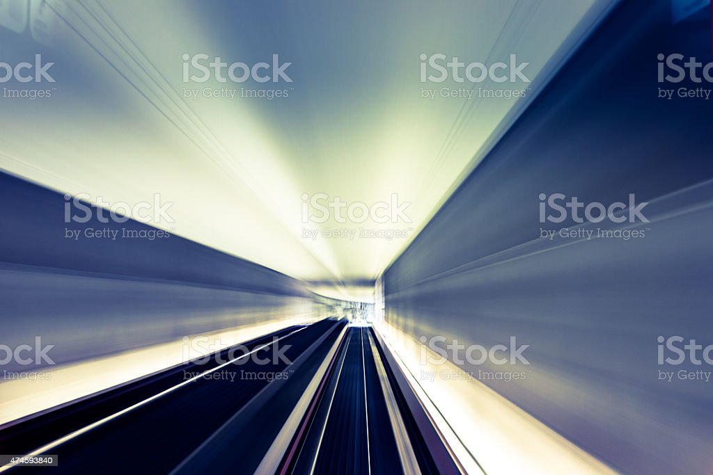 Lights on the tunnel. Motion blur effect stock photo