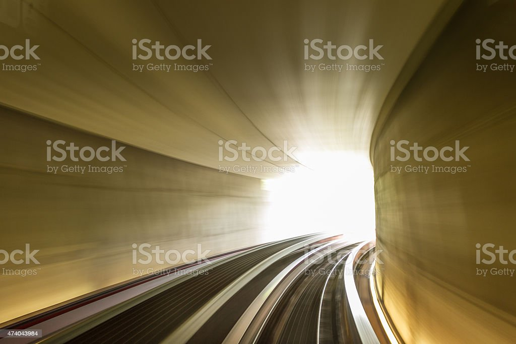 Lights on the tunnel - motion blur effects stock photo