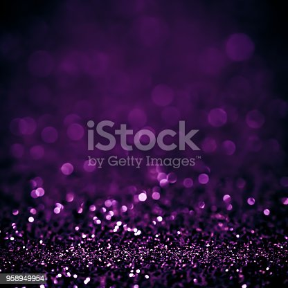 istock Lights on white purple background abstract beautiful blink light with bokeh bright winter and christmas decoration design blur backdrop luxury 958949954