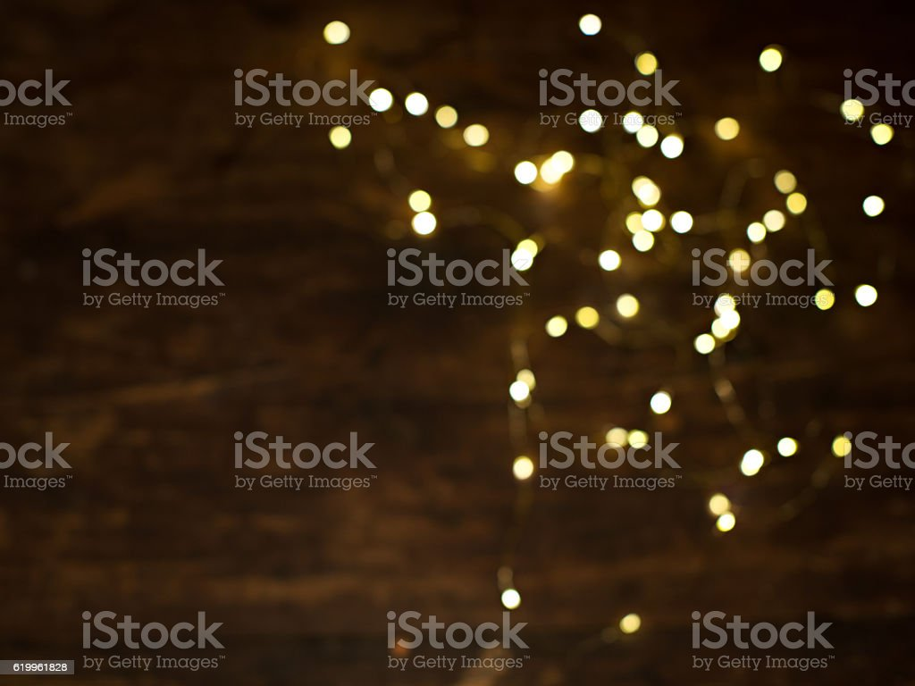 Lights on wooden background stock photo