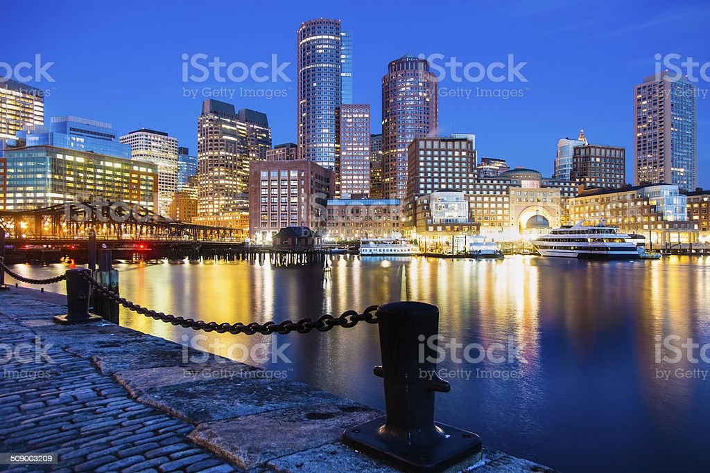 Lights Reflected in Boston's Fan Pier Waterfront at Night stock photo