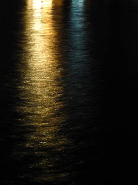 Lights reflected on water stok fotoğrafı