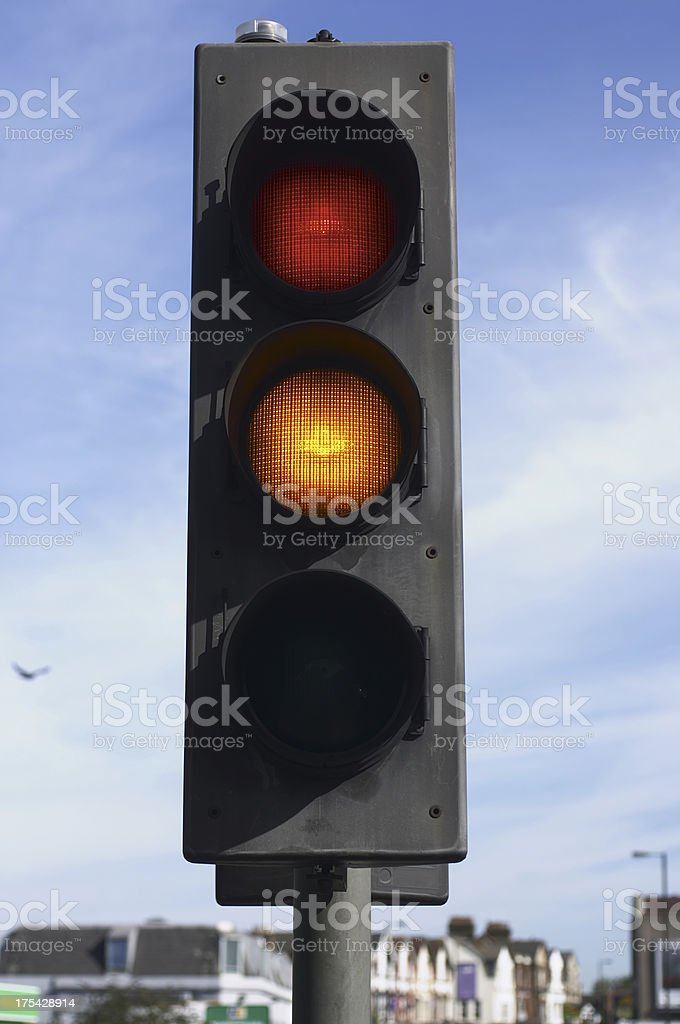 Red and amber traffic lights ready to make progress royalty-free stock photo