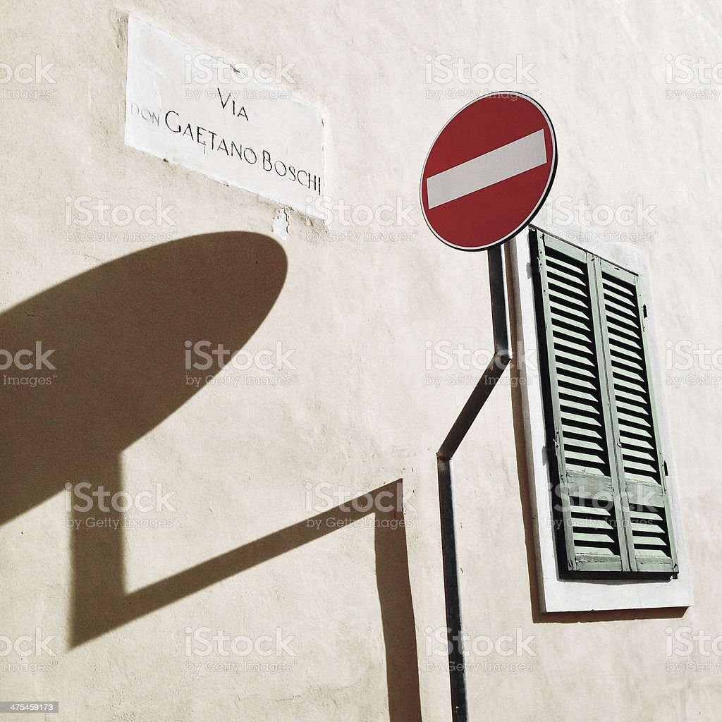 Lights, shadows and street signs royalty-free stock photo