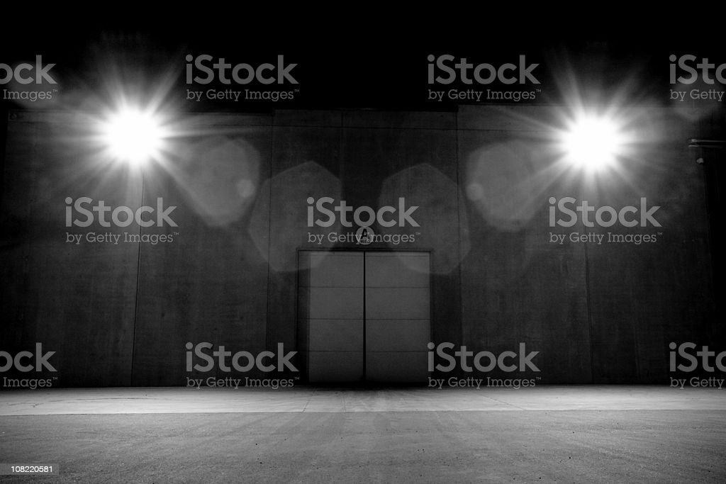 Lights with Double Doors, Black and White stock photo