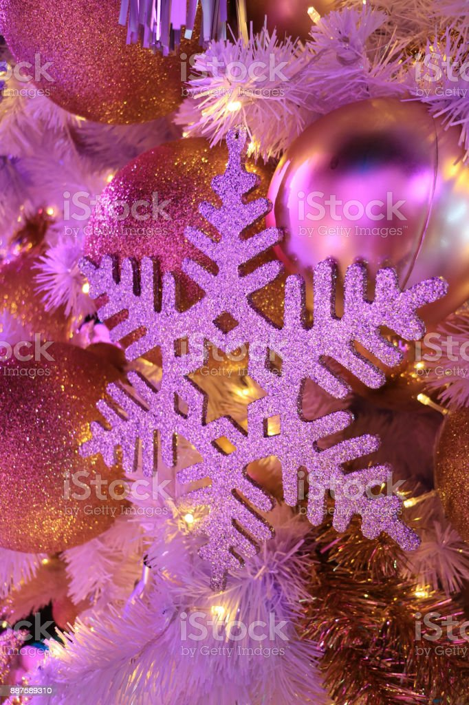 Lightup Glitter Snowflake And Glitter Ball Shaped Christmas Ornaments In Pink Color Light Stock Photo Download Image Now Istock