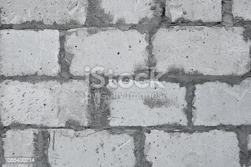 istock Lightweight aerated concrete block wall 1055400214
