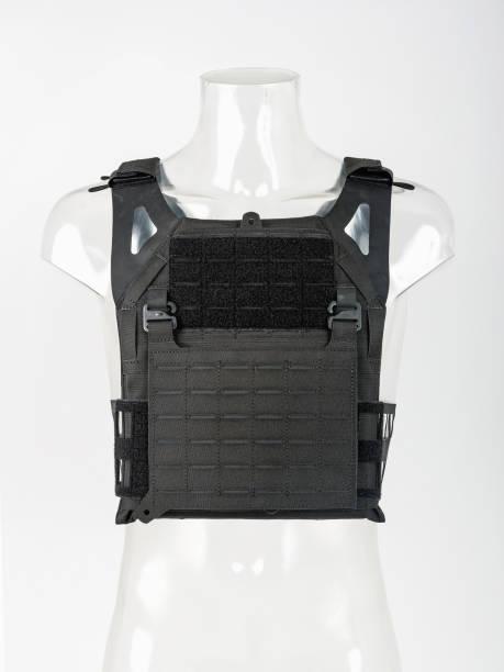 Leichte kugelsichere Weste, moderne Schutzwesten mit Garde, schwarz, Konzept-Armee. – Foto