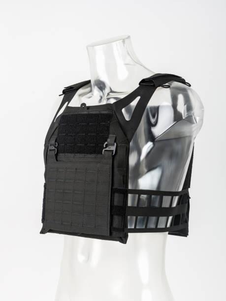 leichte kugelsichere weste, moderne schutzwesten mit garde, schwarz, konzept-armee. - kevlar weste stock-fotos und bilder