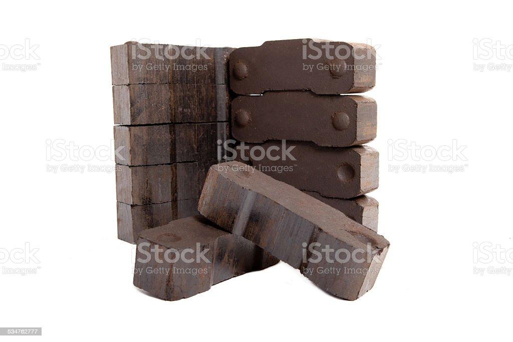 lignite bricks on white background, isolated, copy space stock photo