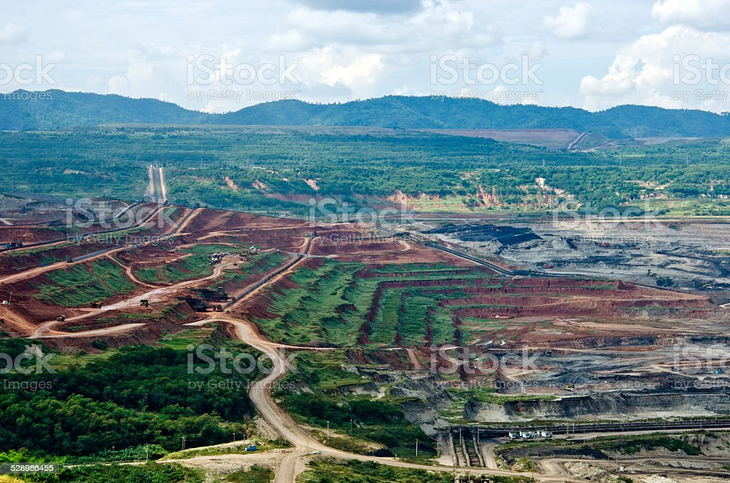 Lignite Coal Mining in Lampang province, Thailand stock photo