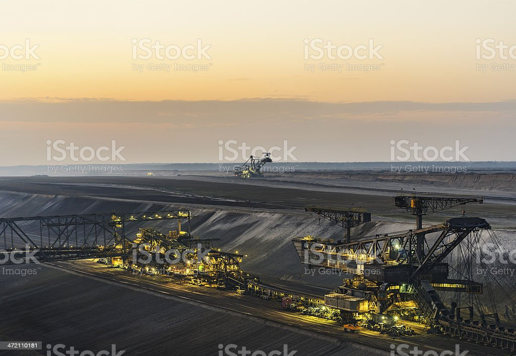 Lignite opencast mining stock photo