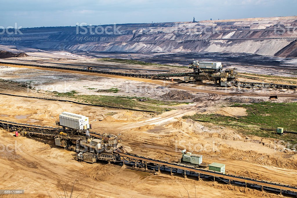 lignite (brown coal) strip mining at Garzweiler, Germany stock photo