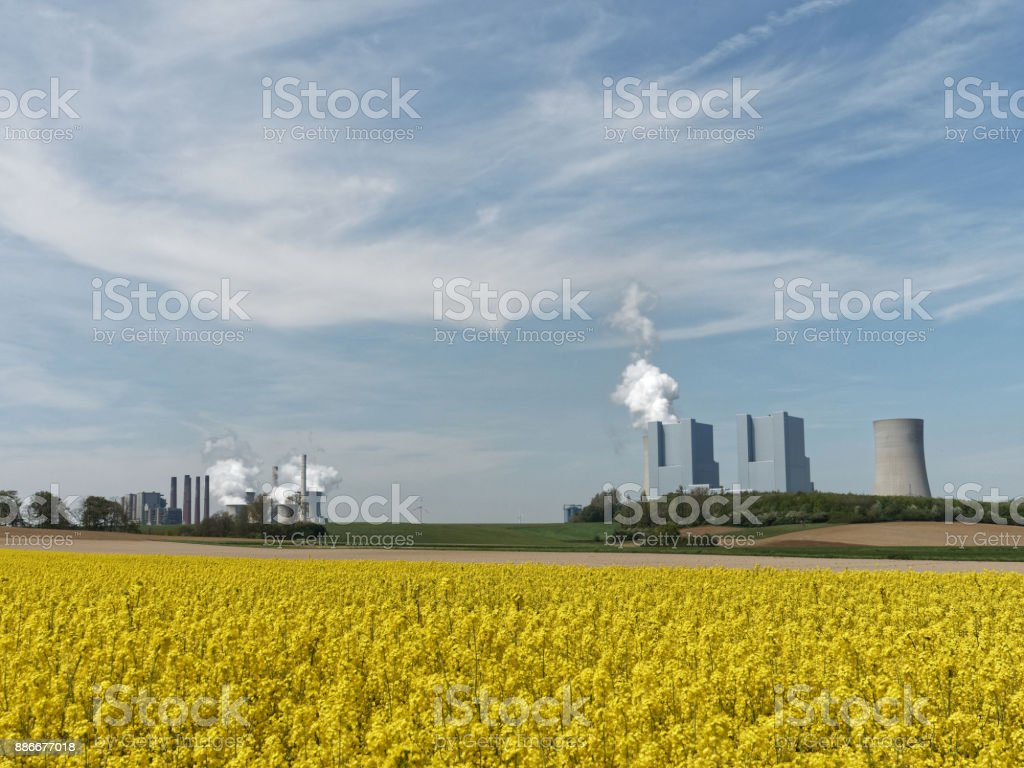 Lignite-fired power plants, emissions, rapeseed fields and blue skies with white clouds stock photo