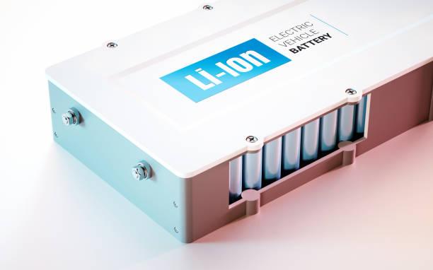 Concepto de batería de Li-Ion de EV (vehículo eléctrico). Vista de cerca. Render 3D. - foto de stock