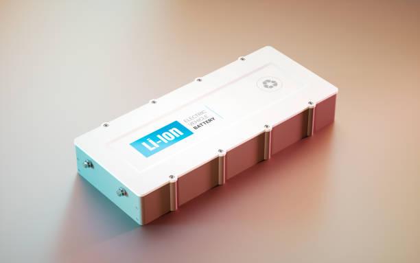 Concepto de batería de Li-Ion de EV (vehículo eléctrico). vista lejana. Render 3D. - foto de stock