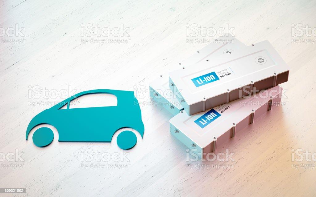 Lithium-Ionen-Elektrofahrzeug Batteriekonzept. Auto-Symbol mit EV-Batterien am Schreibtisch aus Holz. 3D-Rendering. – Foto