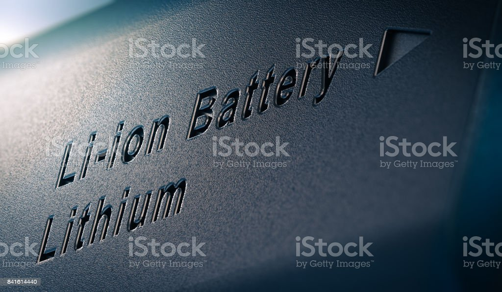 Li-ion Lithium Battery Pack Close Up stock photo