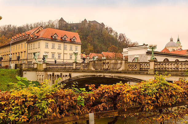 Lijubliana city in autumn Lijubliana city in autumn, Slovenia ljubljana castle stock pictures, royalty-free photos & images