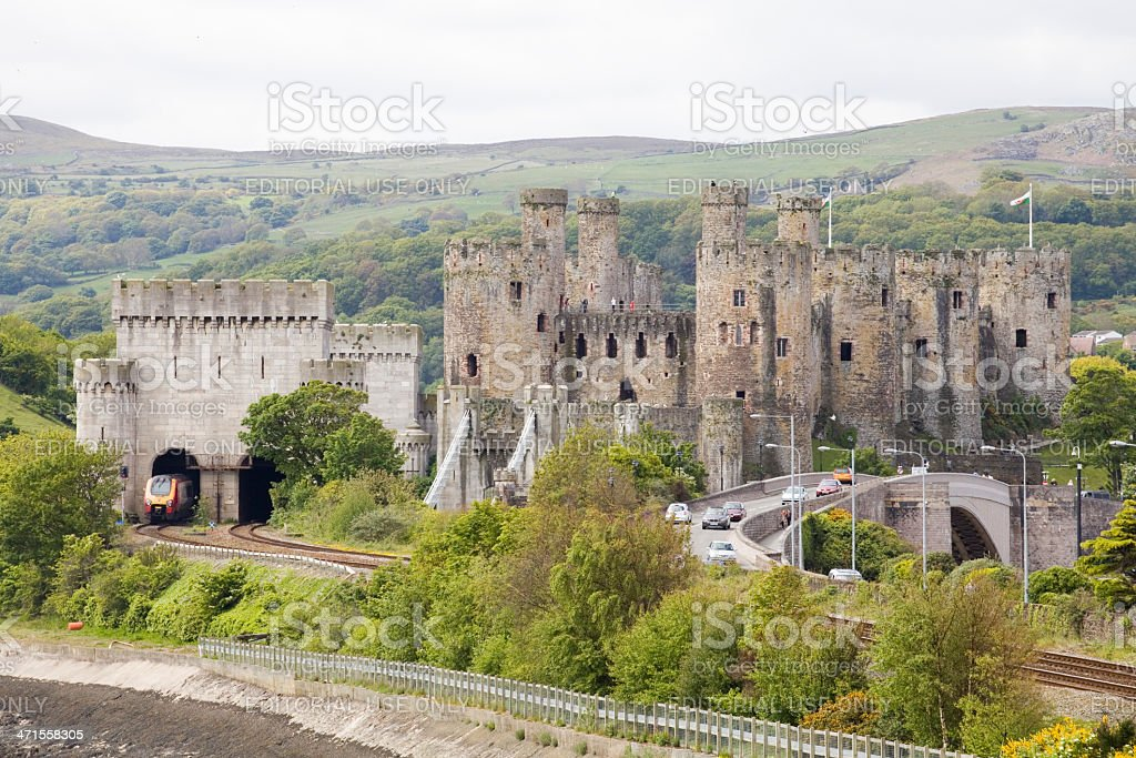 Like a dragon in its cave Virgin train at Conwy royalty-free stock photo