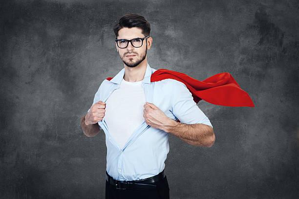 Like a superhero. stock photo