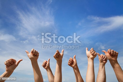 istock like concept, many hands showing thumb up or ok sign 639361310