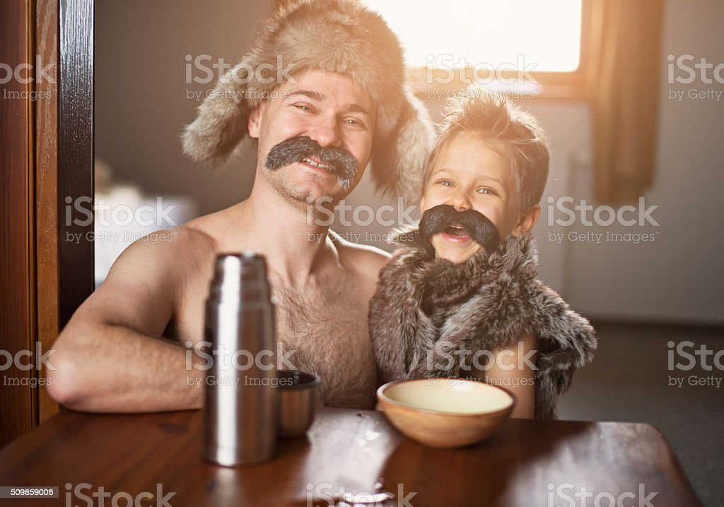 Like father like son - portrait with big moustaches stock photo