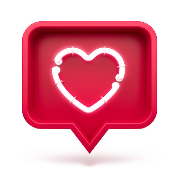 Like heart icon on a red pin isolated on white background. Neon Like symbol. 3d render stock photo