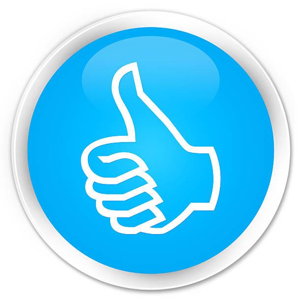 Like icon cyan blue glossy round button stock photo
