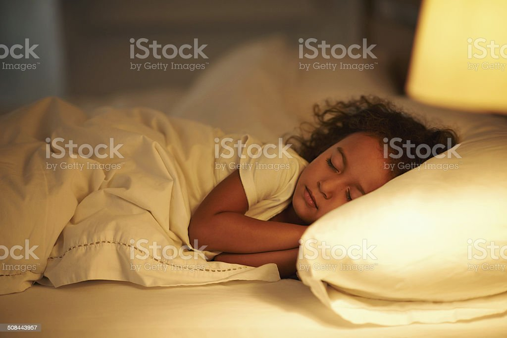 I like mom's bed the best stock photo