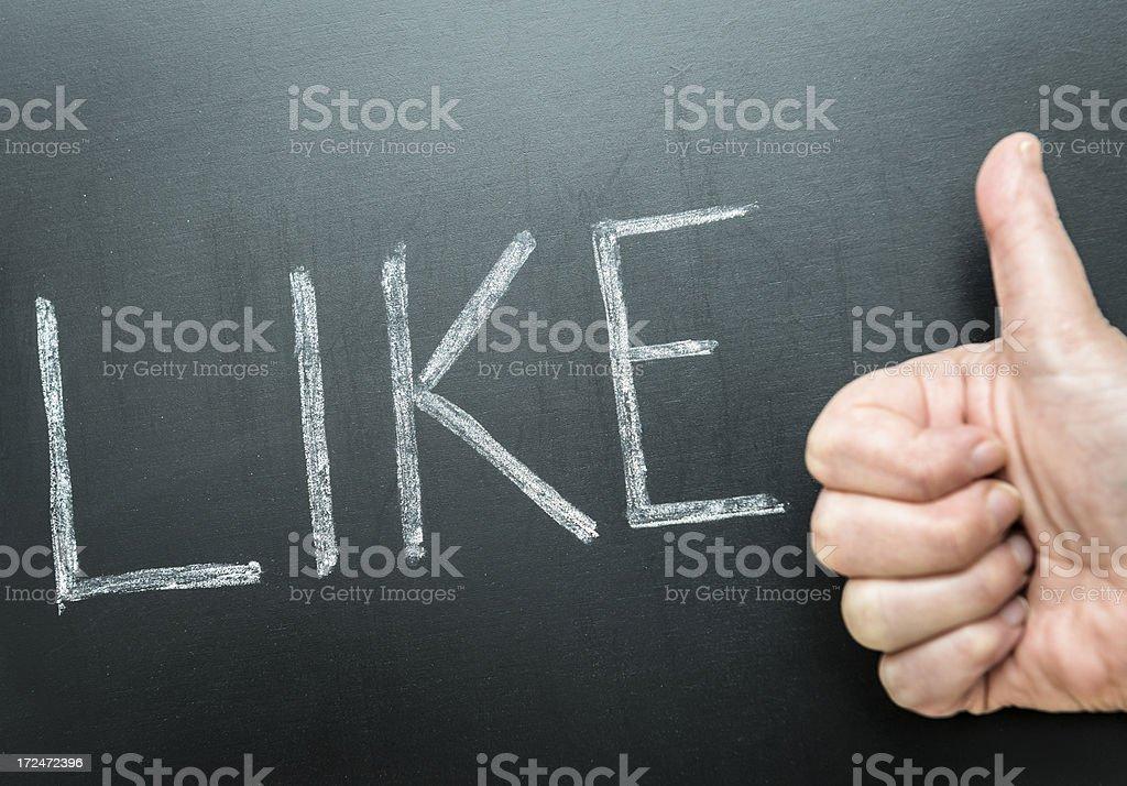 Like text close up on blackboard royalty-free stock photo