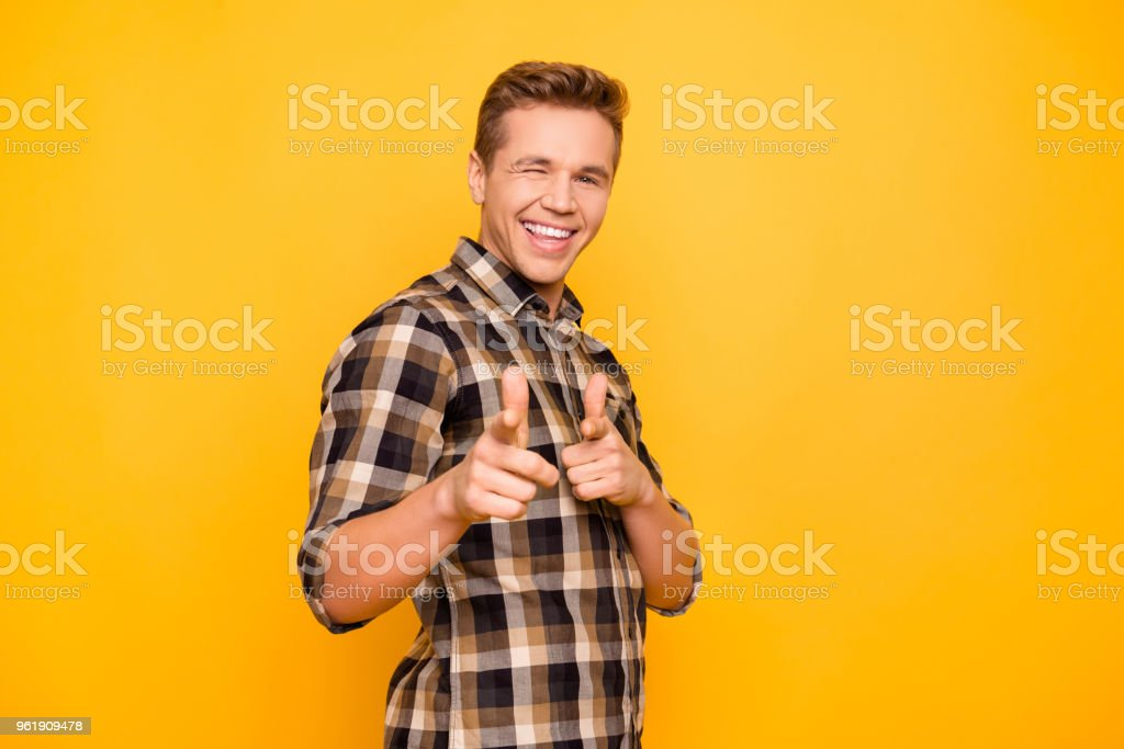 I like you! Hey how are you? Show people person good news positive want dream dreamy eye concept. Portrait of enthusiastic attractive guy indicating on camera giving  wink isolated on vivid background stock photo