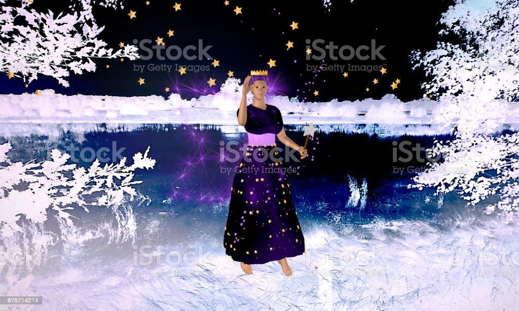Lila Fee mit funkelnden Flügeln und Zauberstab in einer Winterlandschaft. stock photo