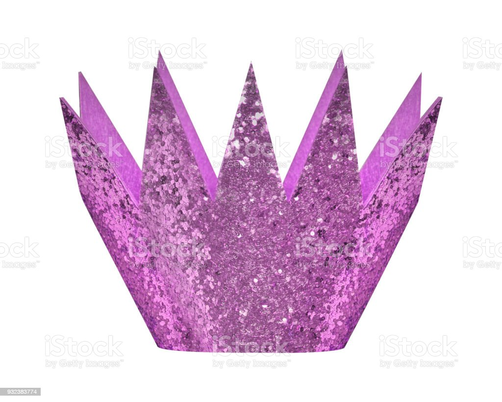 Lila light violet glitter birthday crown isolated white stock photo