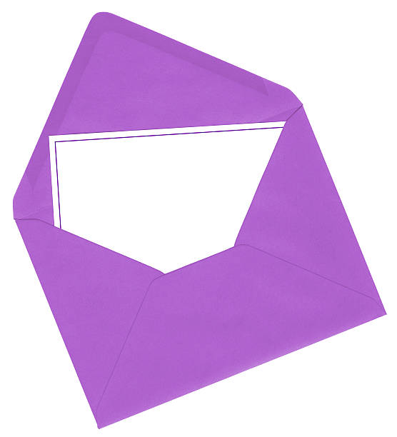lilac envelope and blank card - gift tag note stock photos and pictures