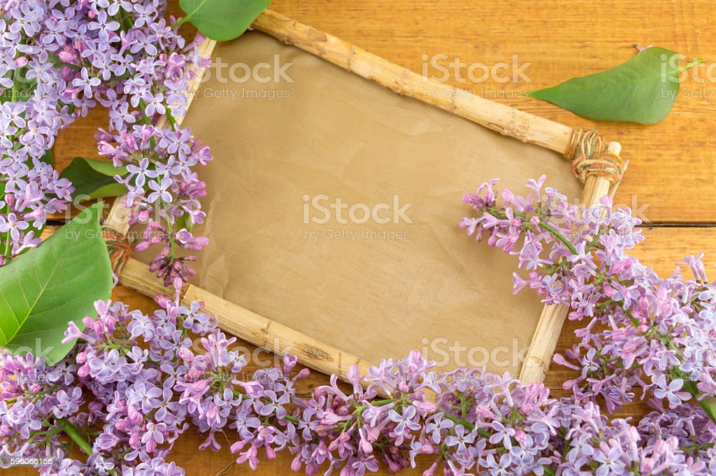 lilac flower and old wooden frame royalty-free stock photo