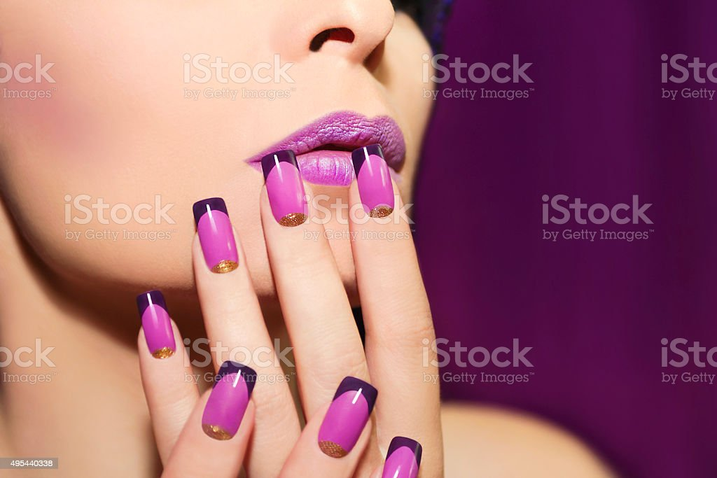 Lilac French manicure. stock photo