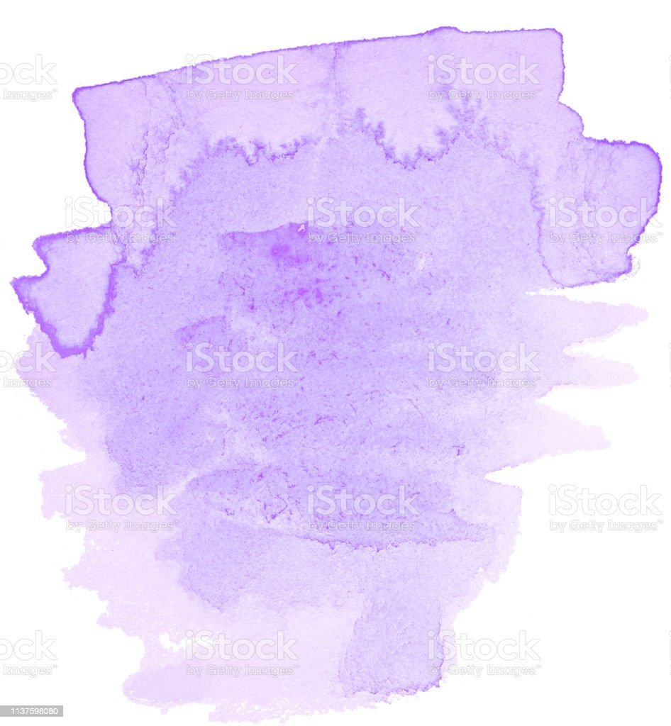 Lilac Pastel Watercolor Handdrawn Isolated Wash Stain On White ...