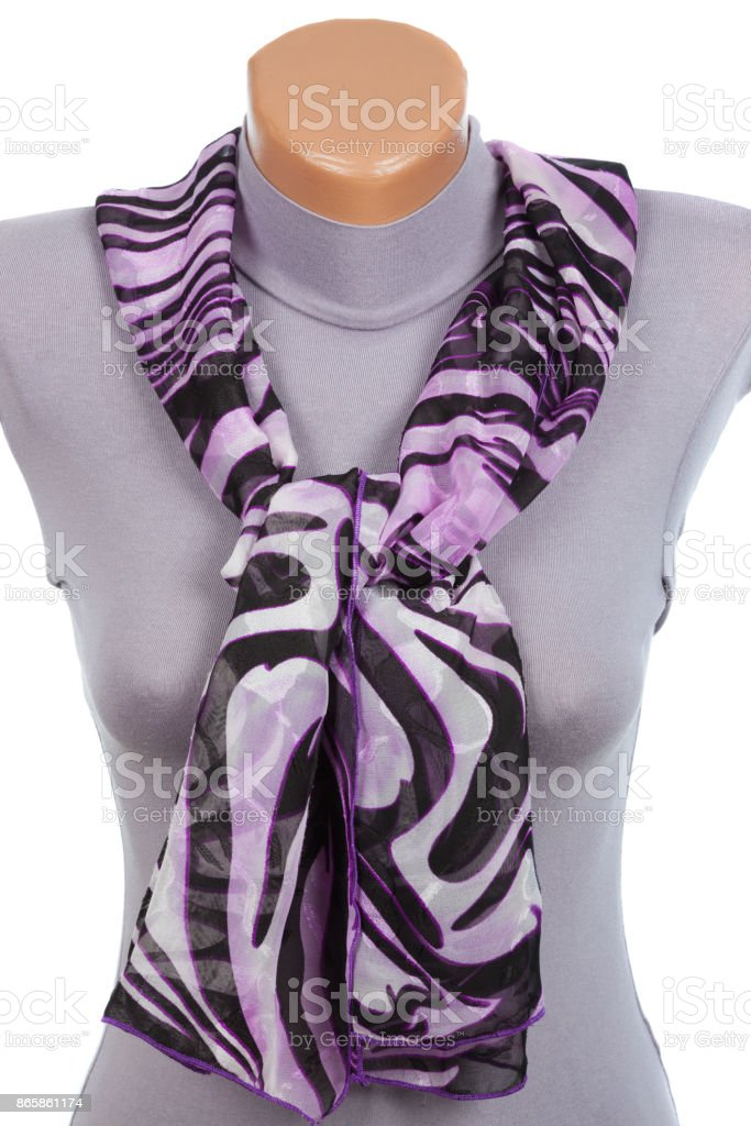 Lilac scarf on mannequin isolated on white background. stock photo