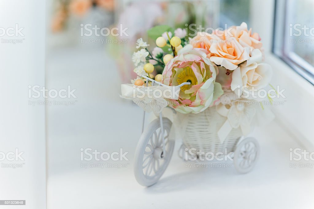 Lilacs and pink roses flowers. stock photo
