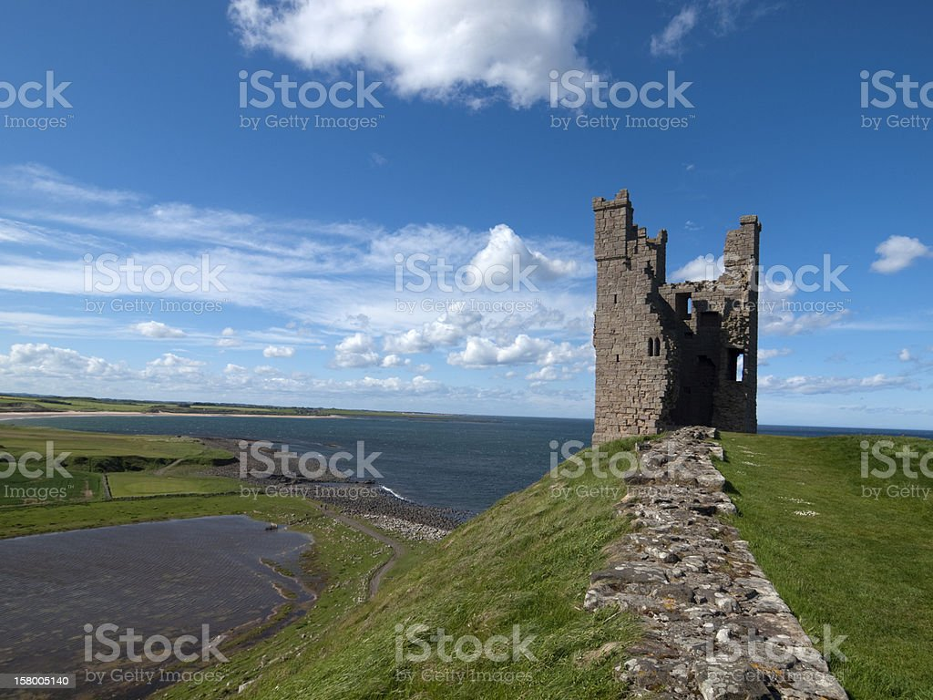 Liliburn Tower at Dunstanburgh Castle, Northumberland stock photo