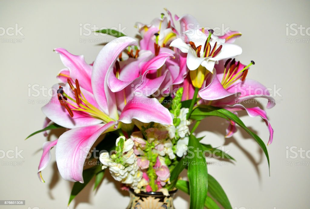 Lilies and Snapdragons stock photo