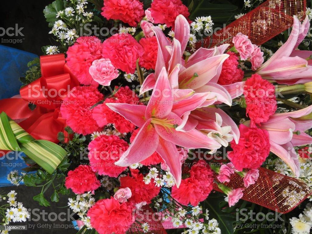 Lilien in verschiedenen Farben und verschiedenen Sorten