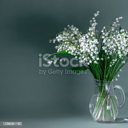A DSLR photo of Lilies-Of-The-Valley (Convallaria Majalis) - bouquet of forest flowers in a vase on a dark gray background. Space for copy.