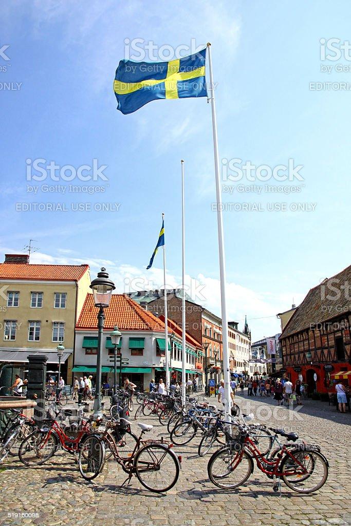 Lilla Torg square in Malmo city, Sweden stock photo